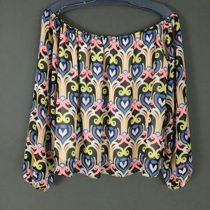 5/$20 Off shoulder pattered blouse